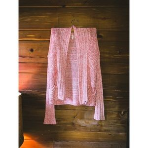 FREE PEOPLE Light Pink Chunky Knit Open Cardigan
